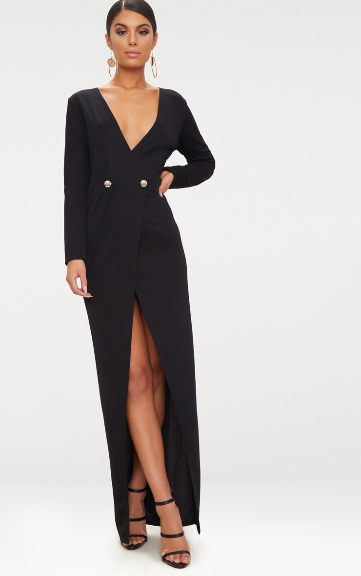 Black Button Detail Blazer Maxi Dress