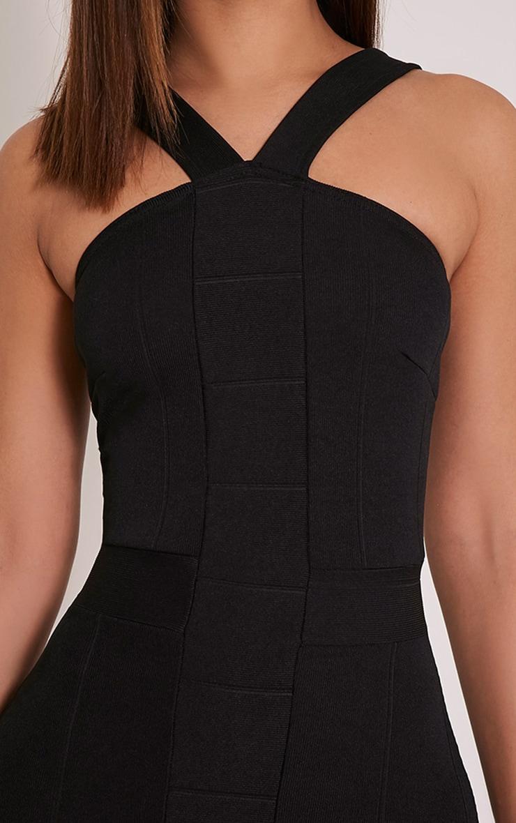 Meryl Black Bandage Strap Detail Bodycon Dress 6