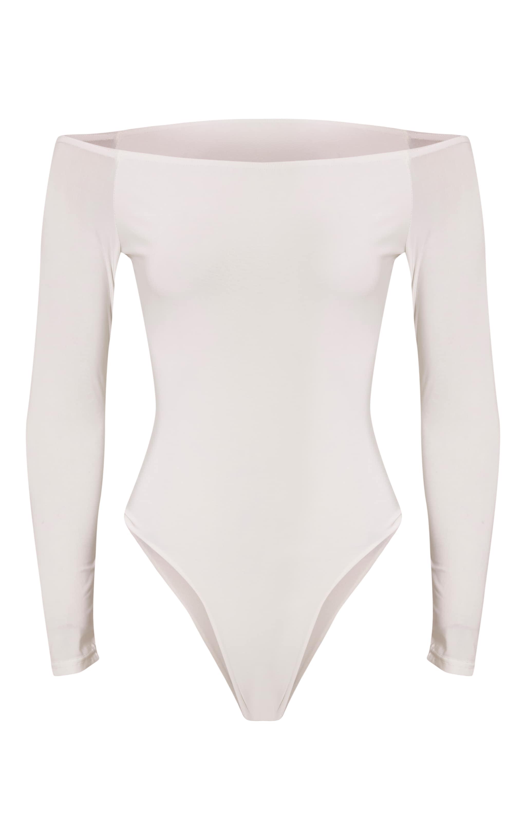 Rossalyn Cream Slinky Bardot Bodysuit 3