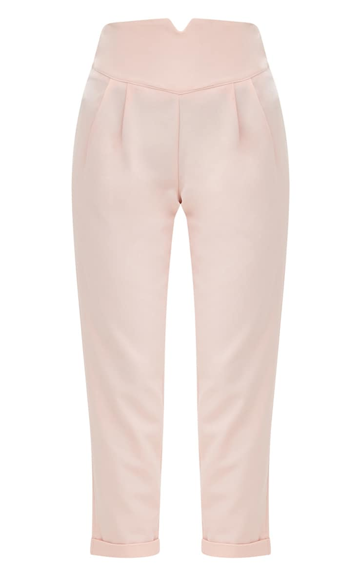 Petite Nude High Waisted Tapered Trousers 3