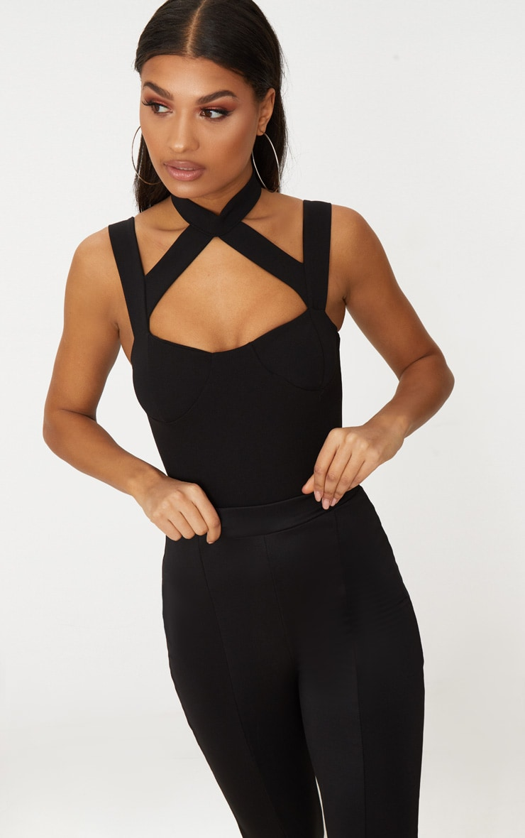 Black Choker Strappy Detail Thong Bodysuit  2