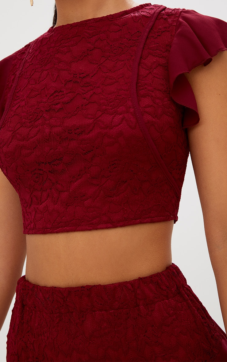 Burgundy Lace Frill Sleeve Detail Crop Top 6