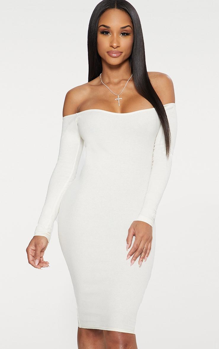 White Bardot Ribbed Long Sleeve Midi Dress