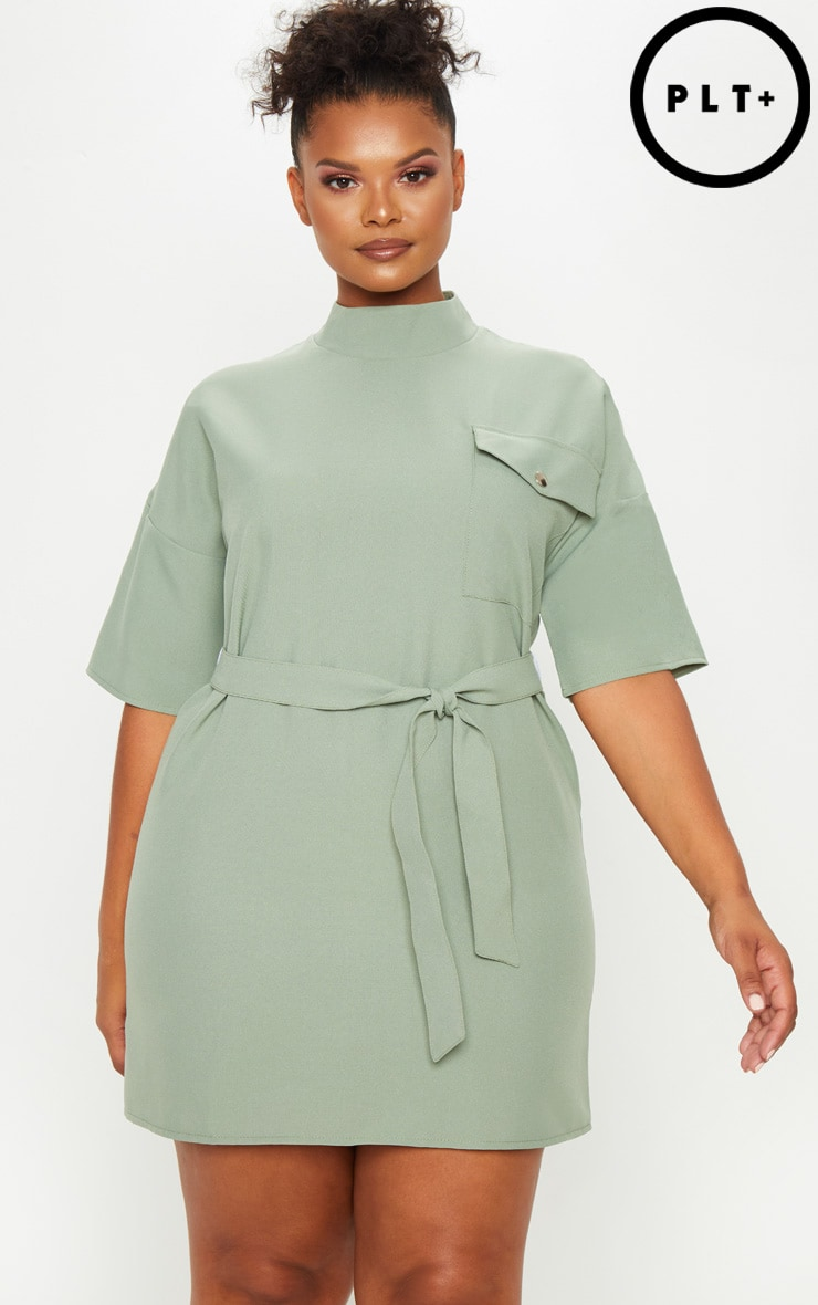 Plus Khaki Cargo Popper Detail Belted Shift Dress