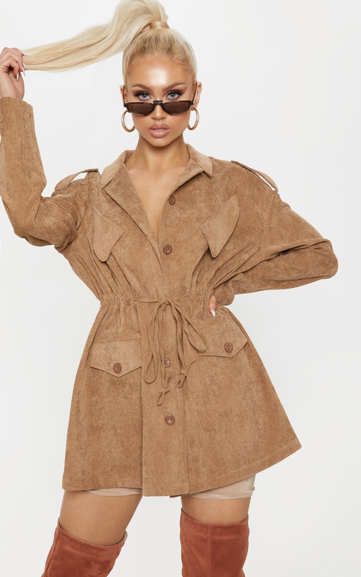 Tan Cord Oversized Jacket  1