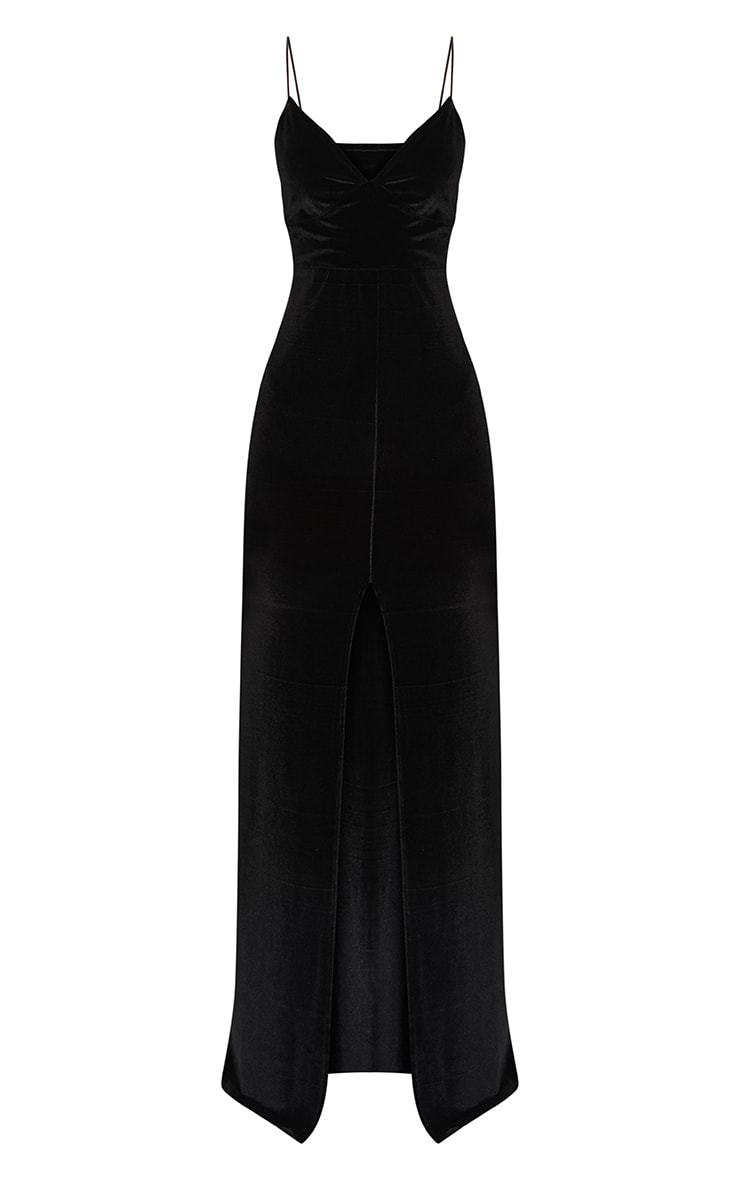 Black Velvet Plunge Strappy Split Detail Maxi Dress 3