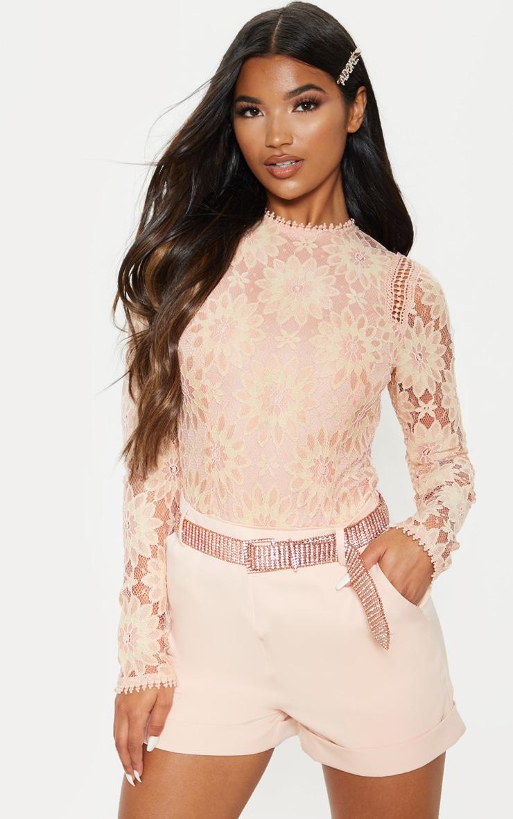 Dusty Pink Lace Long Sleeve Bodysuit 1