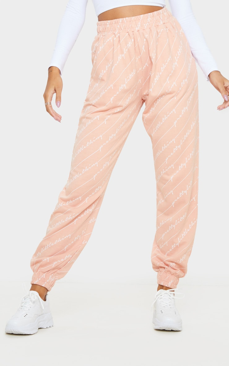 PRETTYLITTLETHING Pink Printed Jogger 2