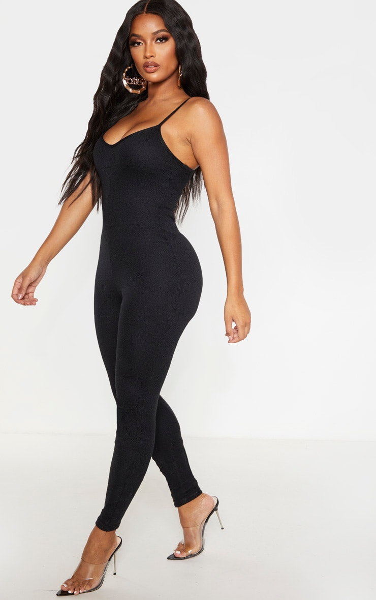Shape Black Knit Strappy Jumpsuit 4