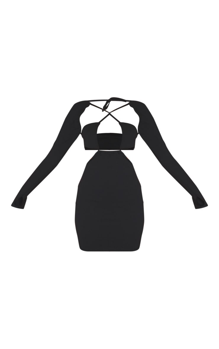Black Multi Cut Out Strappy Long Sleeve Thumb Hole Bodycon Dress 5