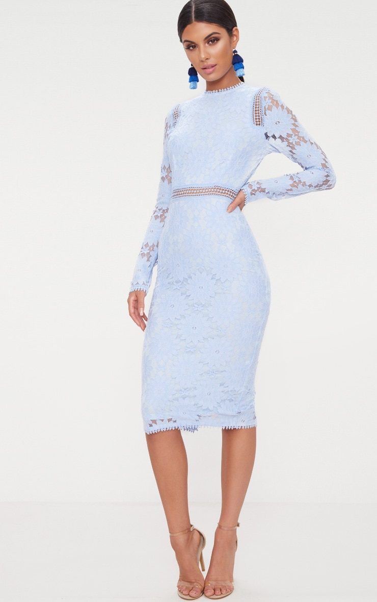 Dusty Blue Long Sleeve Lace Bodycon Dress 4