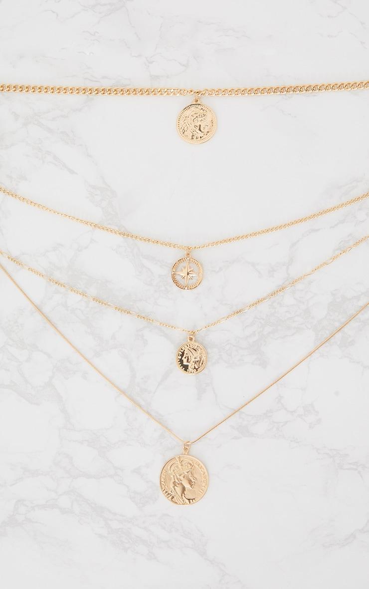 Gold Renaissance Four Layer Compass Coin Necklace 3