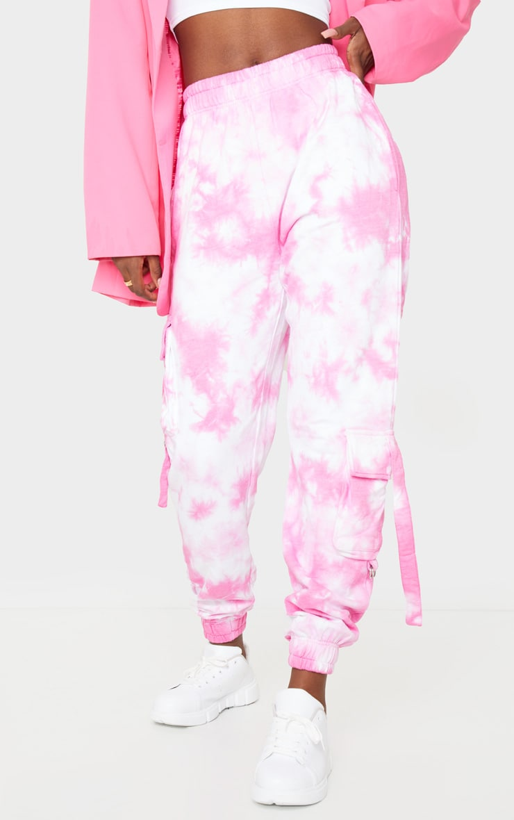 Tall Bright Pink Cargo Tie Dye Joggers 2