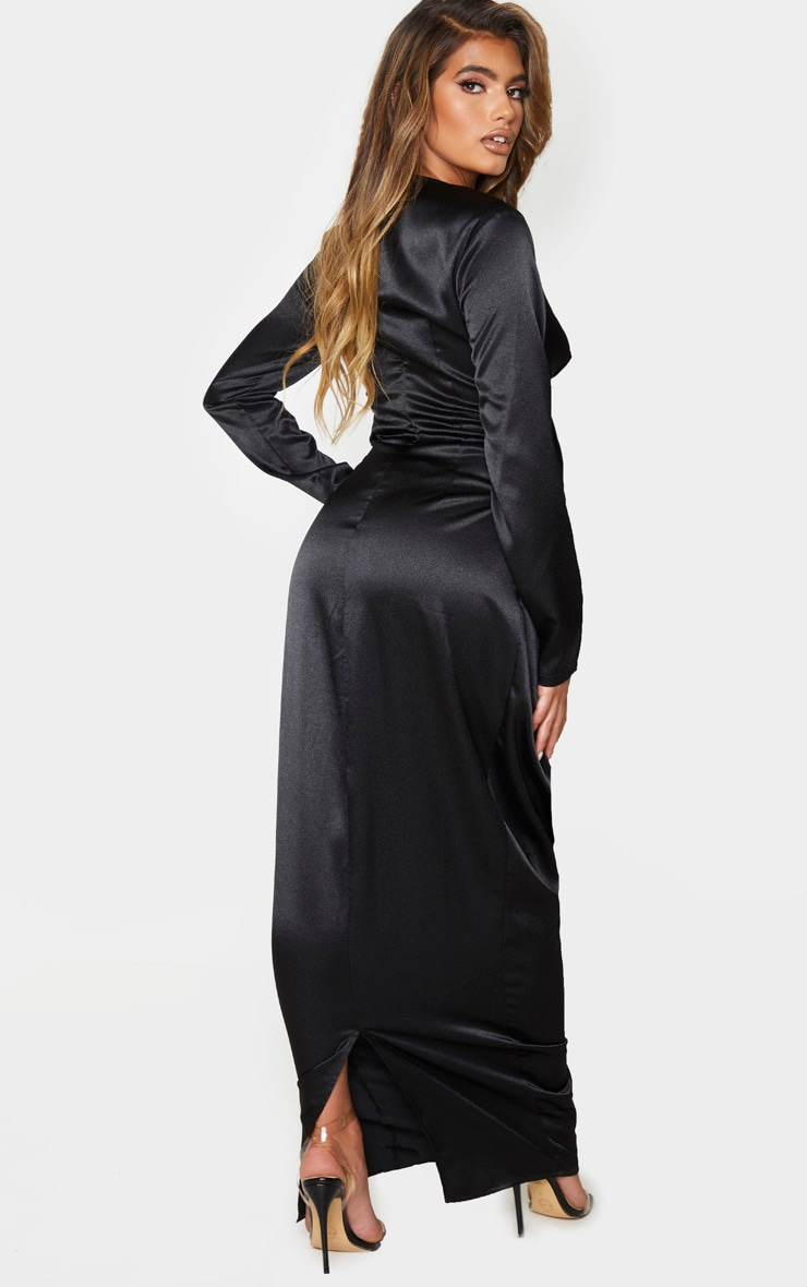 Black Satin Drape Detail Plunge Maxi Dress 2