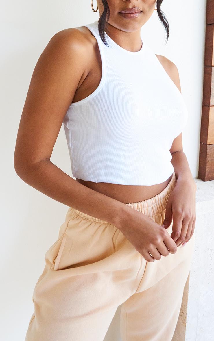 White Basic Soft Rib Cropped Vest 4