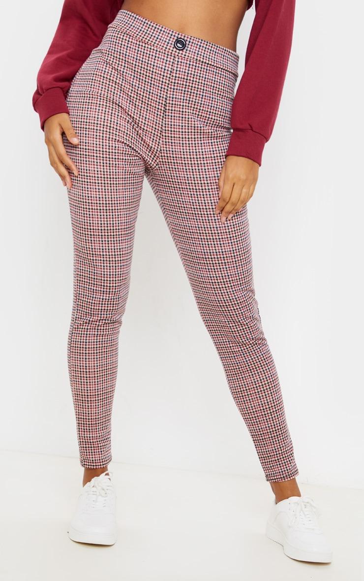 Burgundy Checked Skinny Trouser 2
