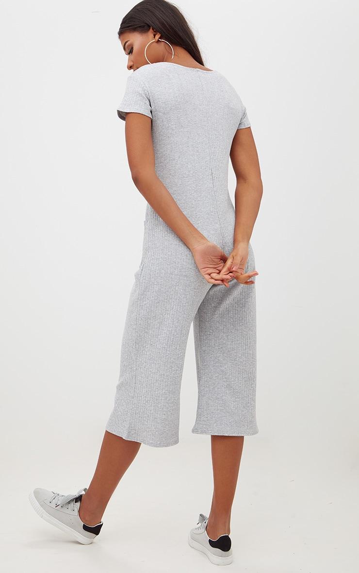 Grey Marl Short Sleeve Ribbed Culottes Pocket Jumpsuit 2