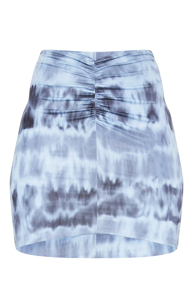 Navy Tie Dye Slinky Ruched Front Mini Skirt 5