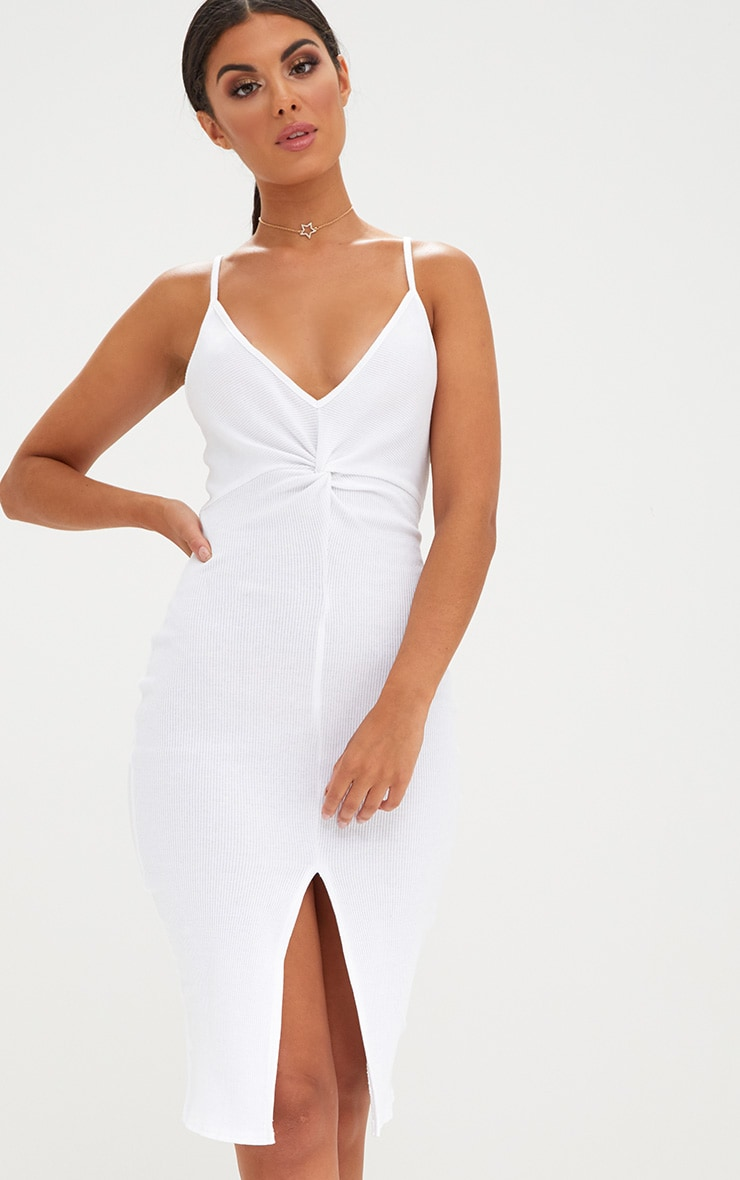 White Ribbed Twist Front Midi Dress 1