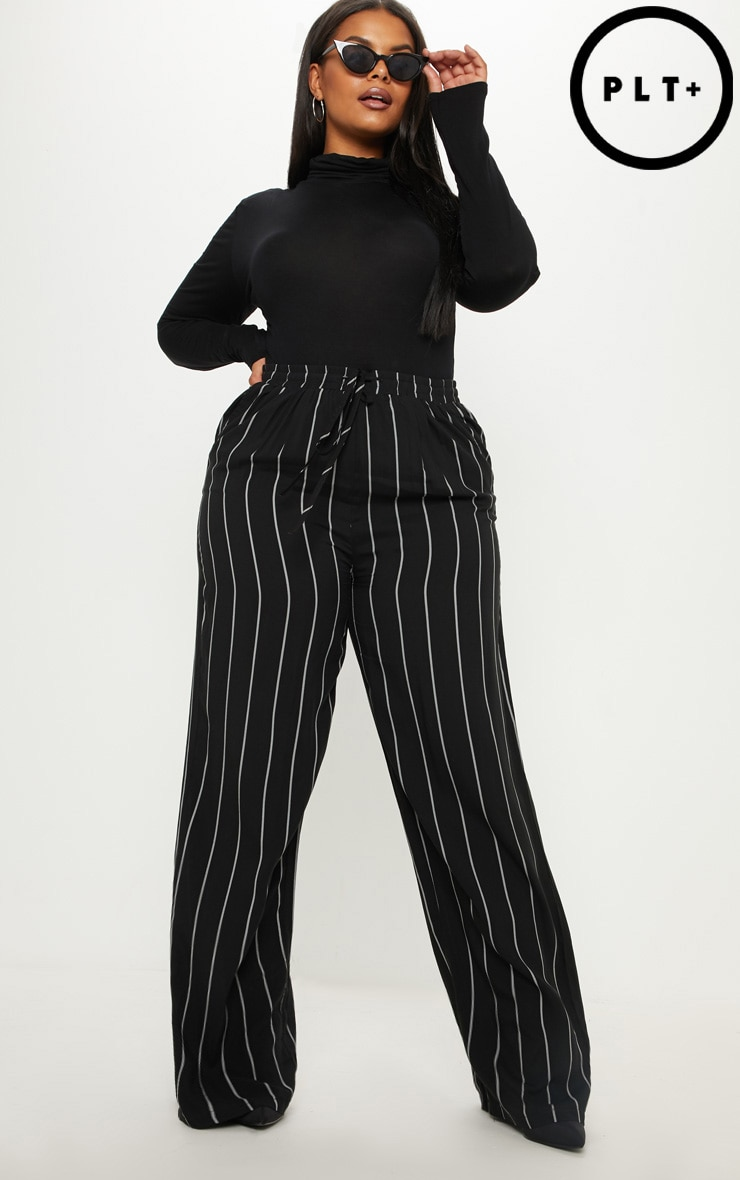 Plus Black Casual Wide Leg Trouser