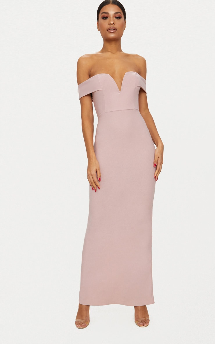 Dusty Pink Bardot V Plunge Maxi Dress 1