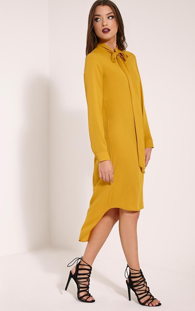 Mila Mustard Pussy Bow Long Shirt Dress 1