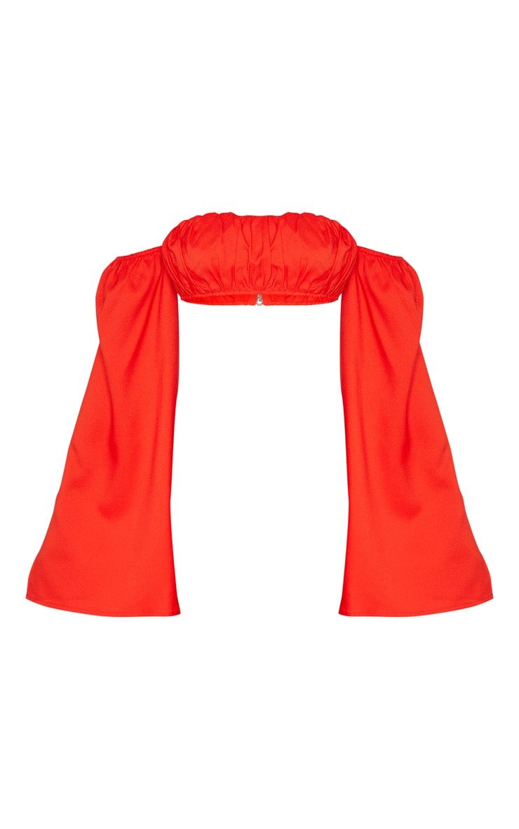 Red Bardot Split Sleeve Crop Top  3