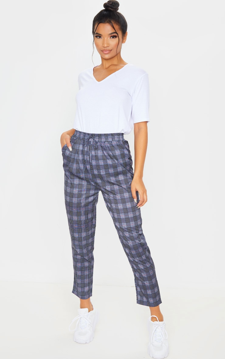 Pantalon casual à carreaux bleu marine 1