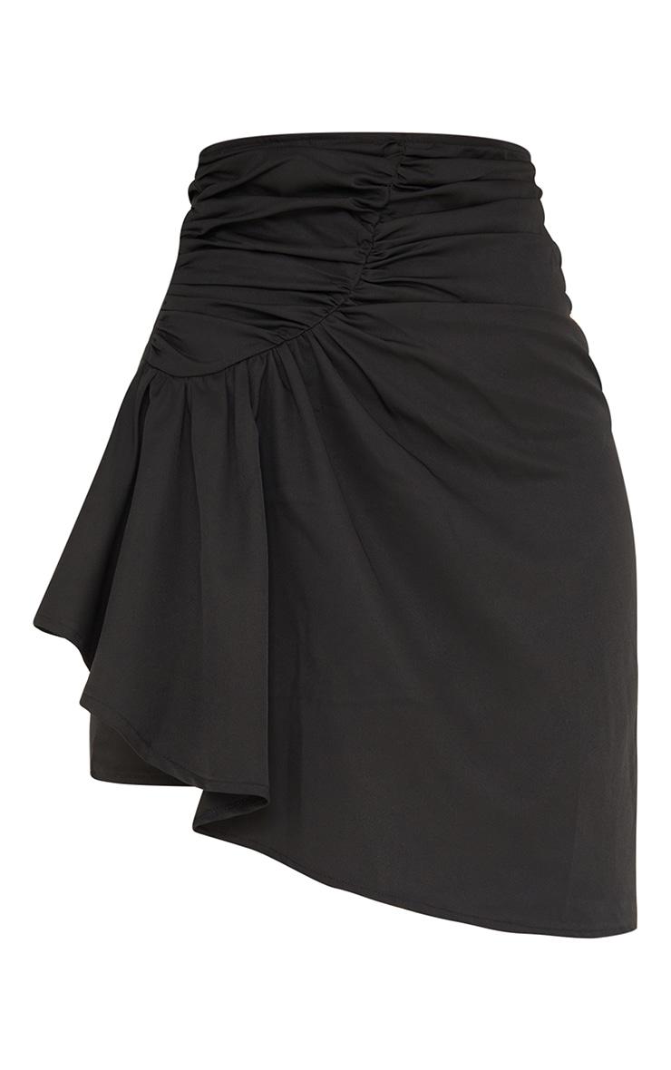 Black Woven Ruched Drape Front Mini Skirt 6