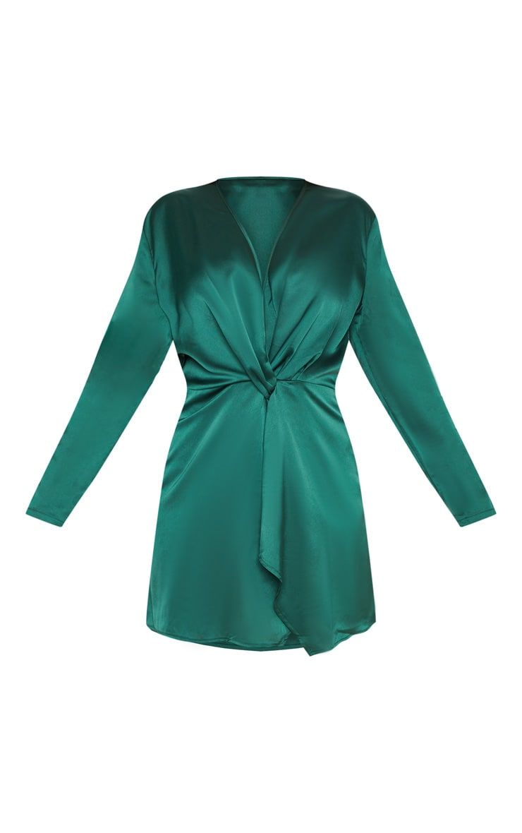 Plus Emerald Green Satin Long Sleeve Wrap Dress 2