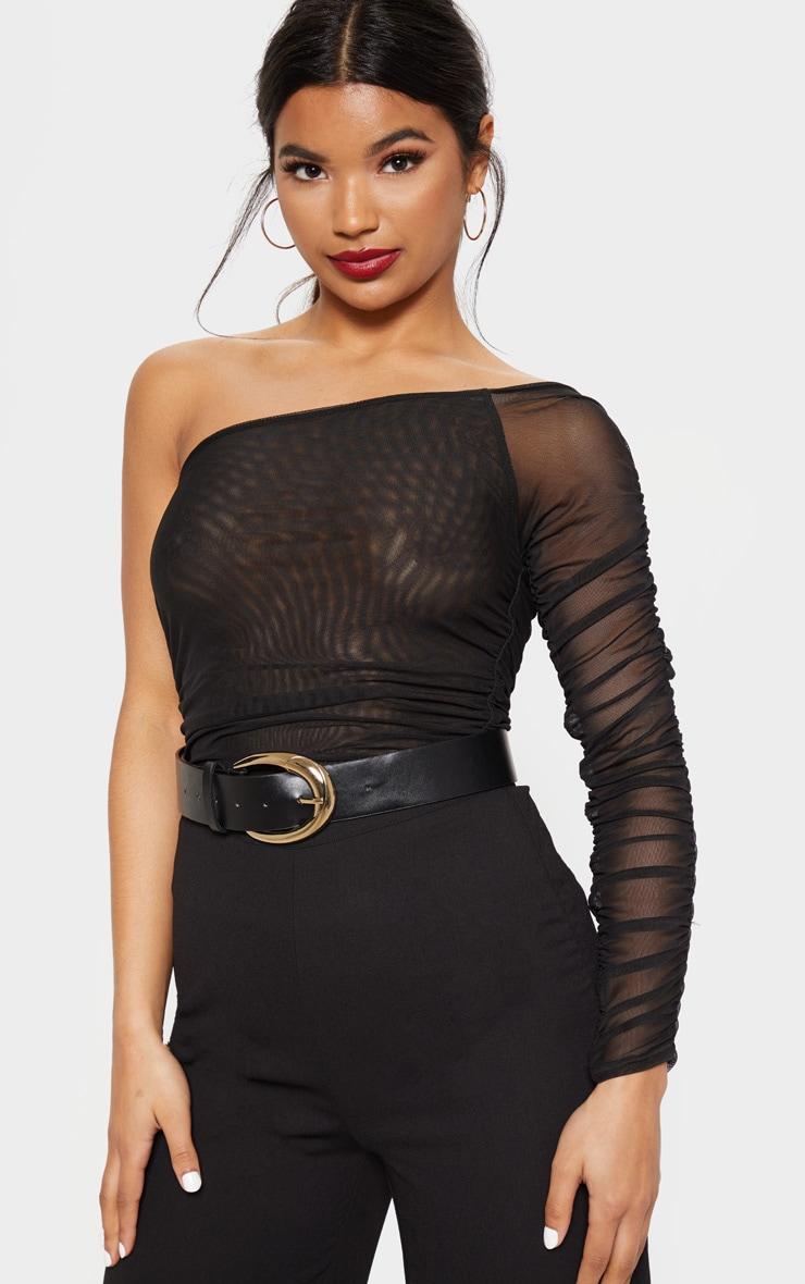 Black Mesh One Shoulder Bodysuit