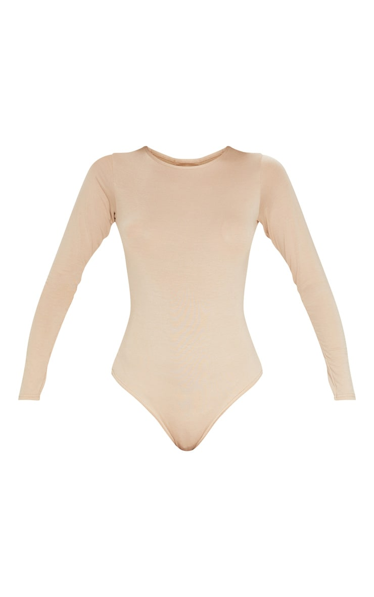Basic Stone Crew Neck Long Sleeve Bodysuit 3