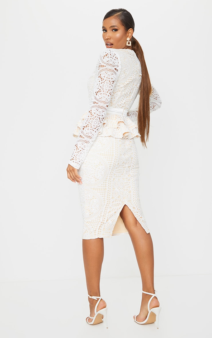 White Lace Plunge Peplum Frill Midi Dress 2