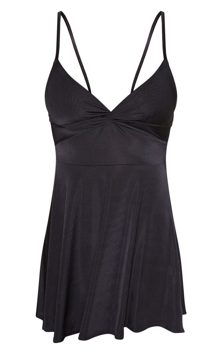 Black Metallic Slinky Knot Detail Swing Dress 3