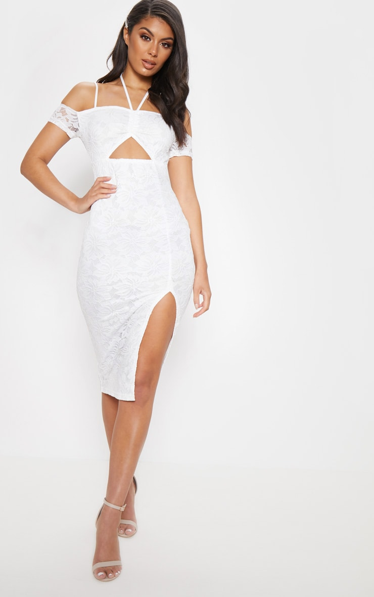 White Lace Ruched Cut Out Midi Dress Prettylittlething Usa