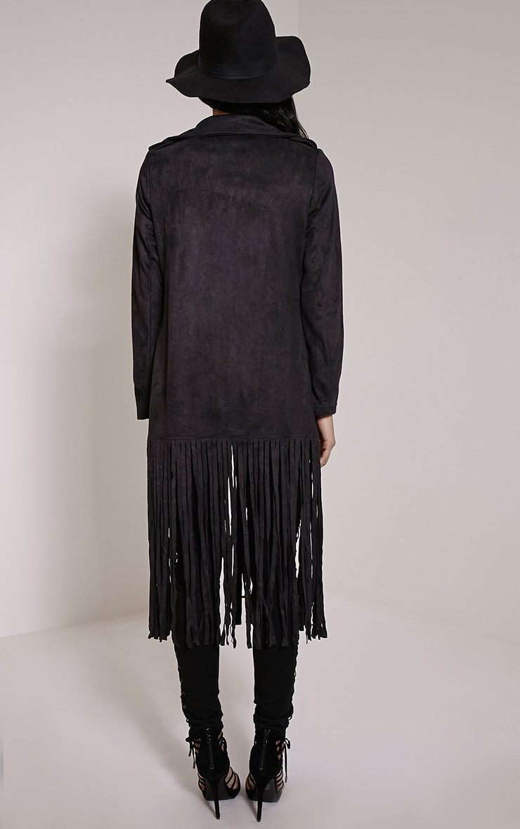 Jessica Black Fringe Trim Trench Coat 2