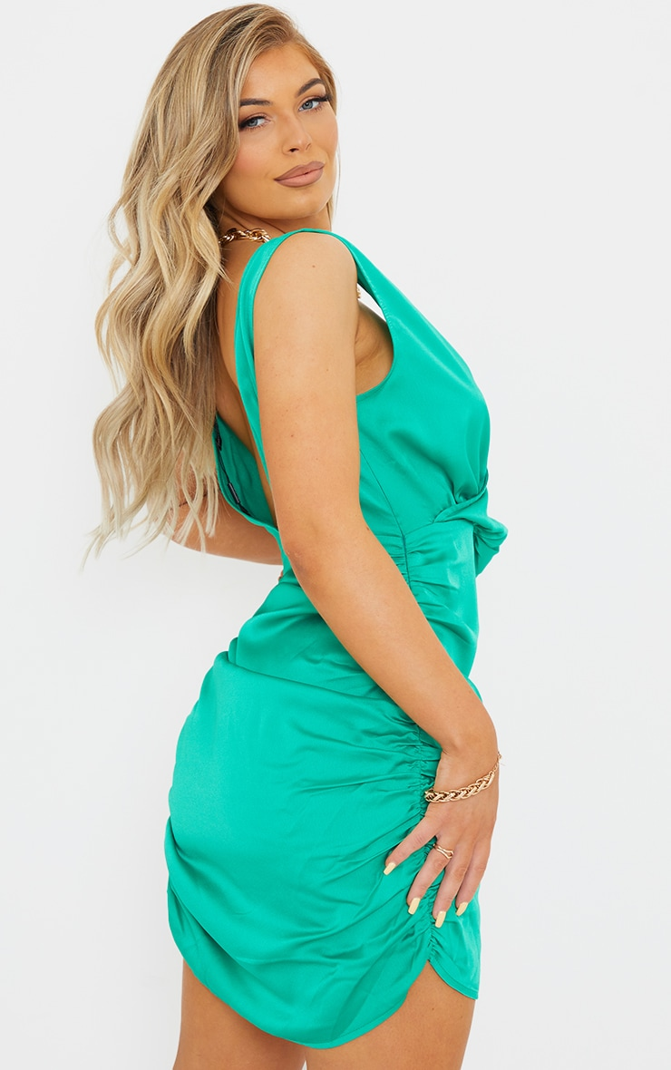 Green Satin Plunge Wrap Ruched Bodycon Dress 2