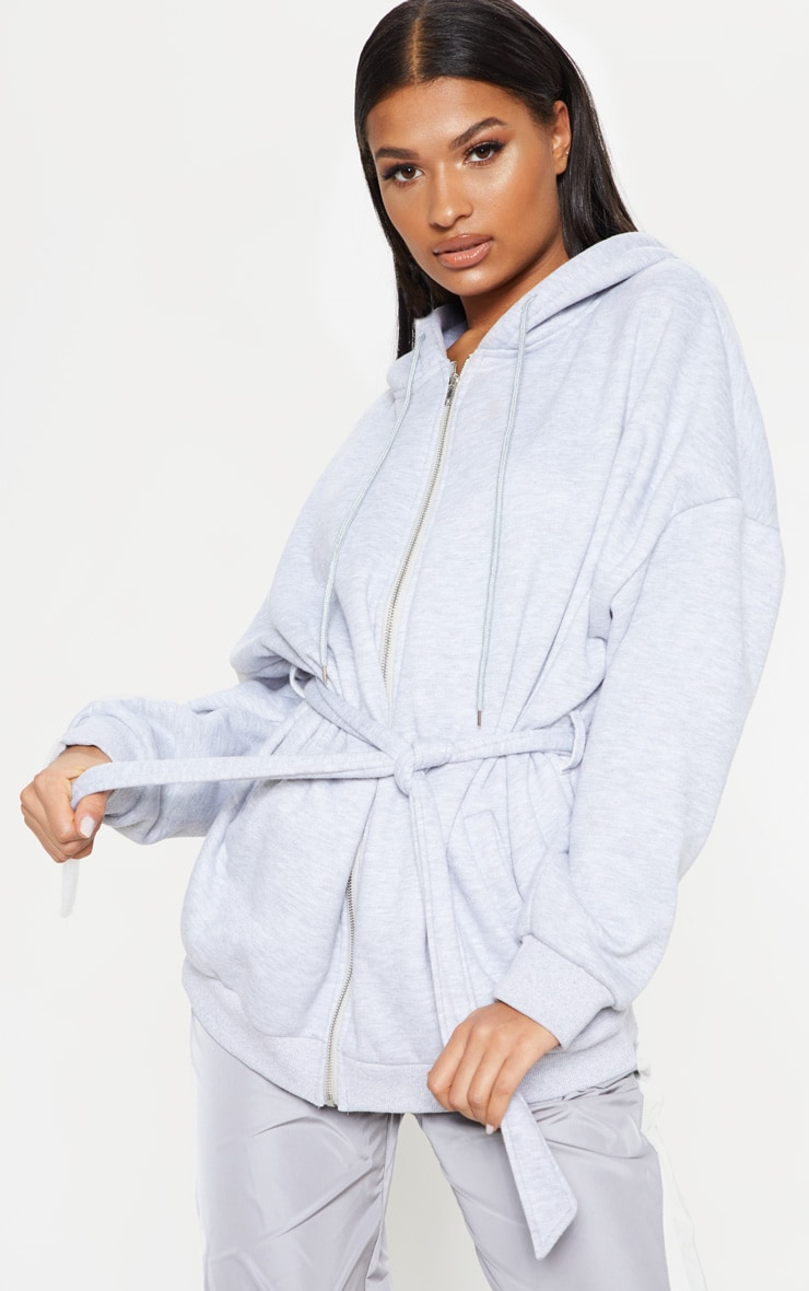 Grey Oversized Belted Sweat Hoodie 1