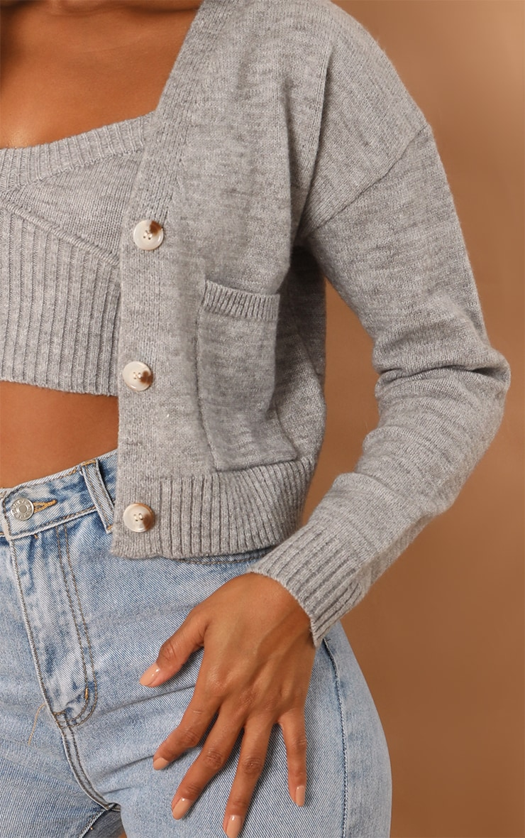 Grey Button Down Slouchy Pocket Cropped Cardigan 4