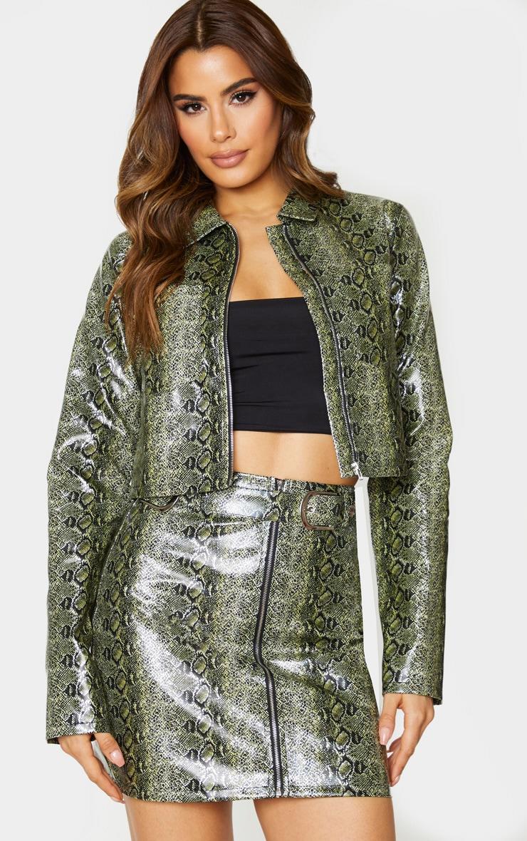 Tall Green Pocket Detail Snake Print Zip Jacket 1