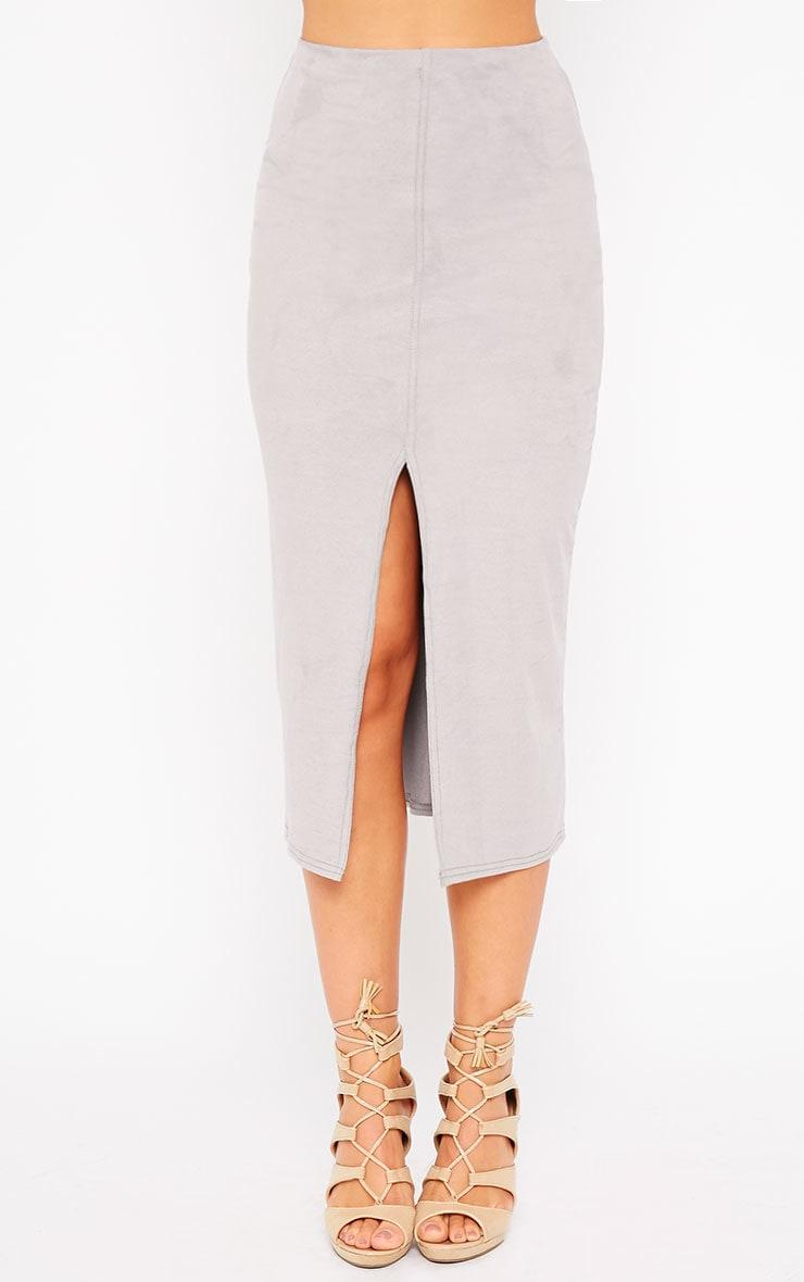 Riley Grey Suede Midi Skirt 2