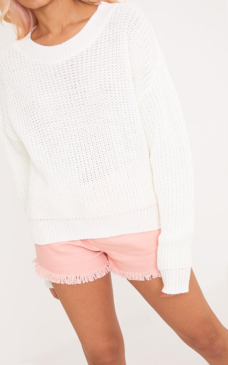 Cara Cream Cropped Knit Jumper 5