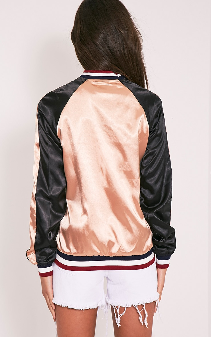 Tavie Champagne Satin Sequin Applique Bomber Jacket 3