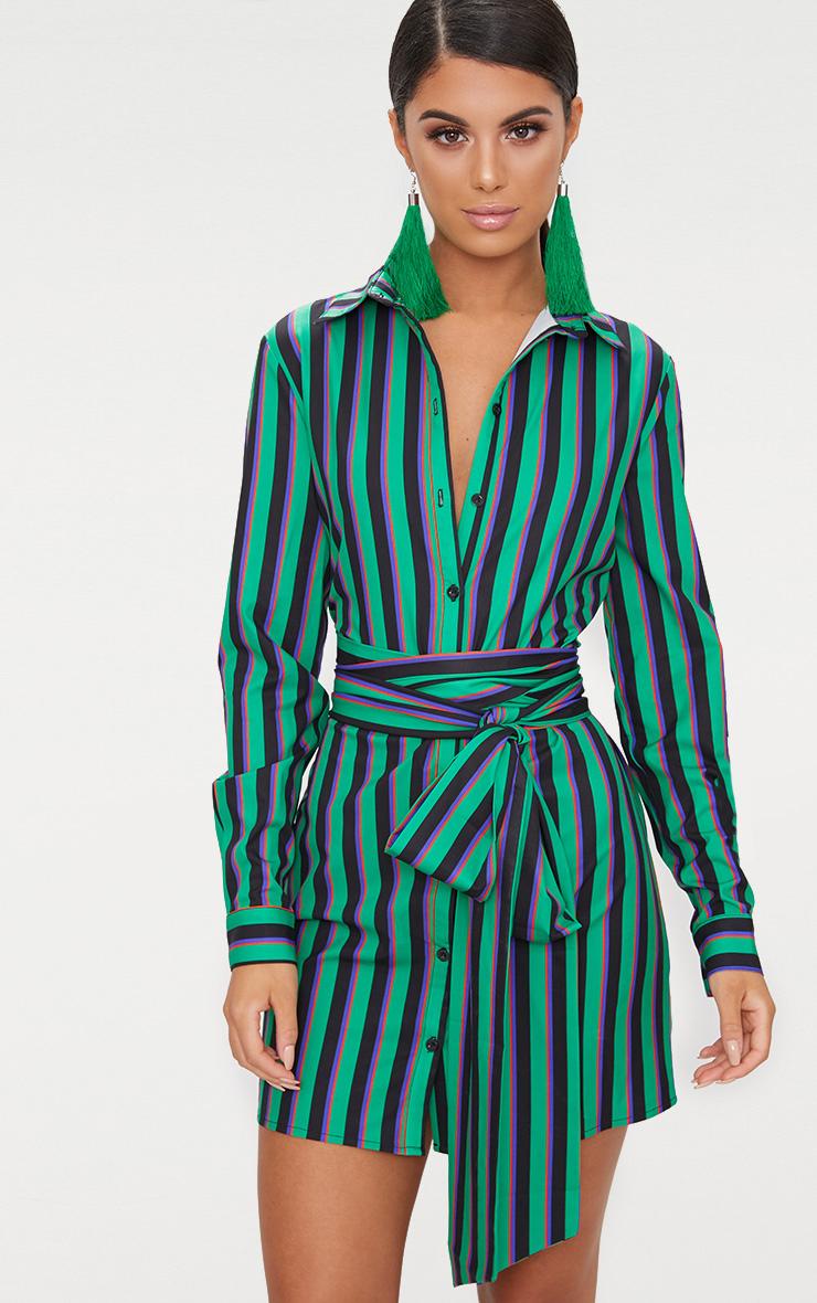 Green Stripe Tie Waist Shirt Dress