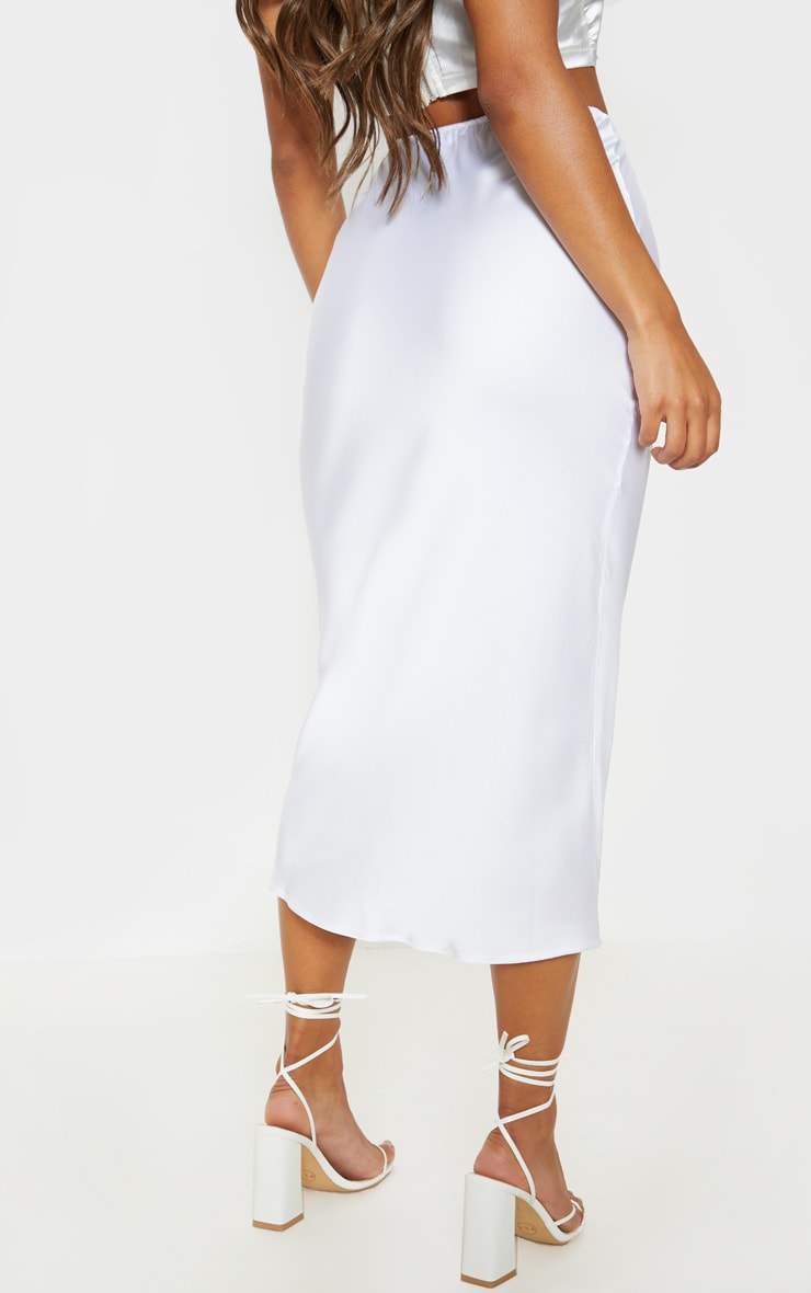 White Satin Midi Skirt 4