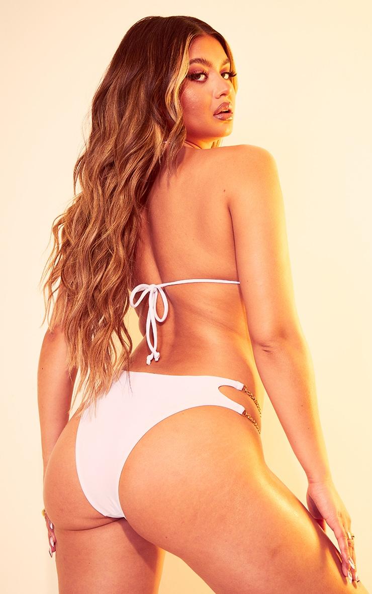 White Chain Strap Triangle Bikini Top 2