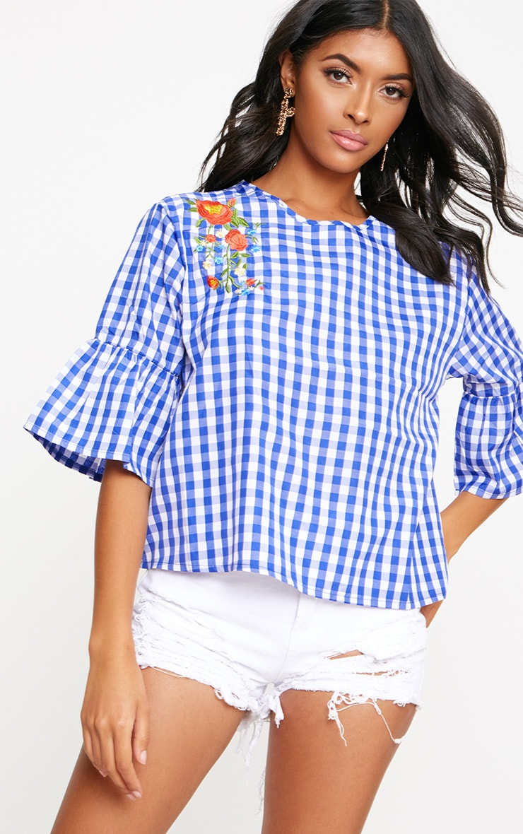 Blue Embroidered Gingham Top 1