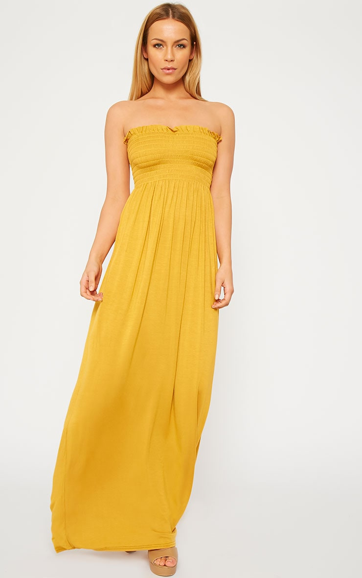 Tamara Mustard Elasticated Bandeau Jersey Maxi Dress 1