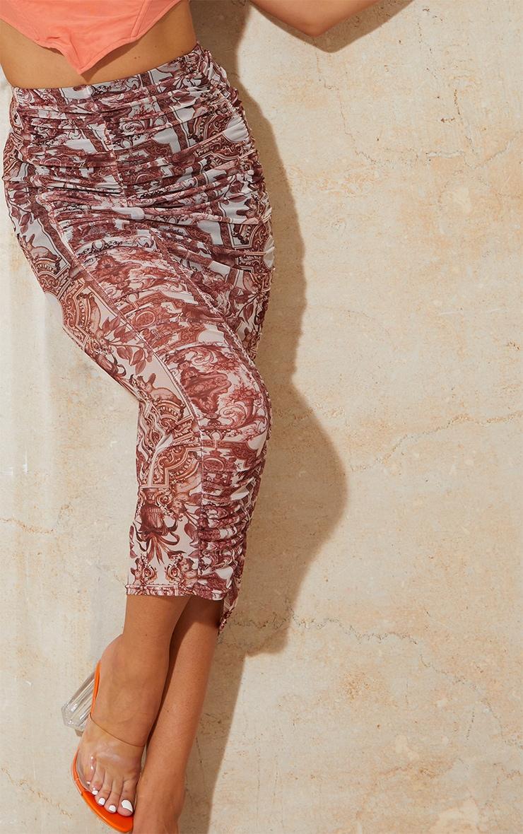 Renaissance Print Mesh Ruched Overlay Maxi Skirt 4