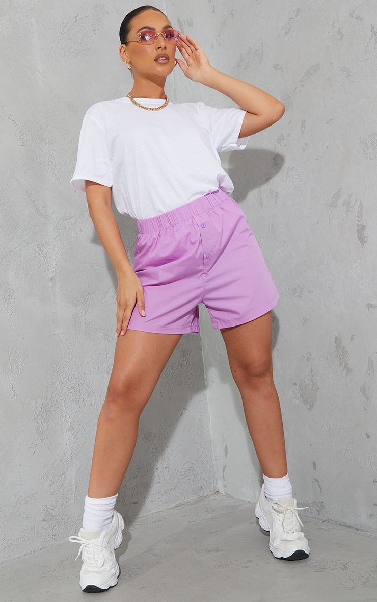 Lilac Woven Boxer Detail Shorts 1